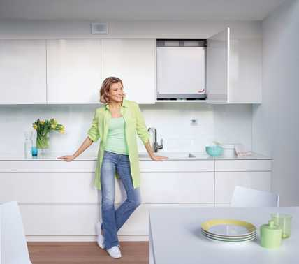 Obr. 1: + NákresInstalace kompaktního systému větrání v kuchyni..